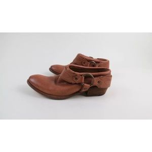 Frye Carson brown harness mules clogs